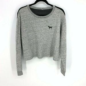 Victoria Secret Dog Logo Mesh Back Crop Sweatshirt